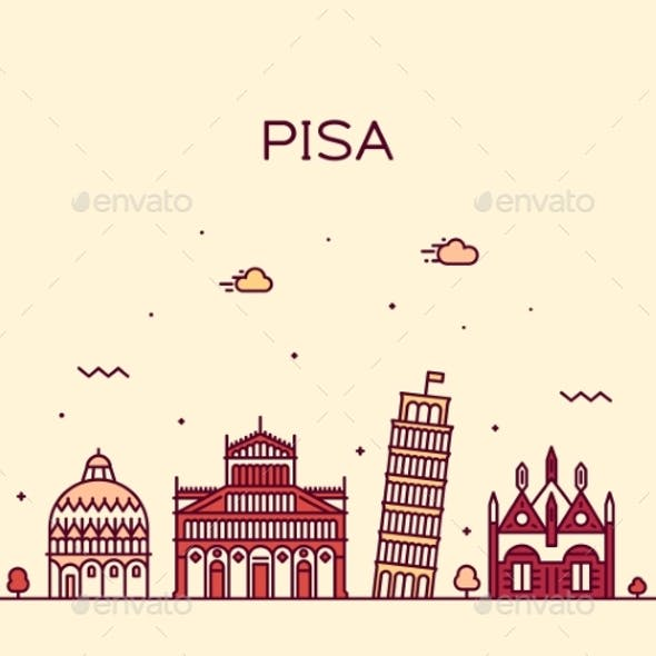 Pisa Skyline Italy Vector Linear Style City