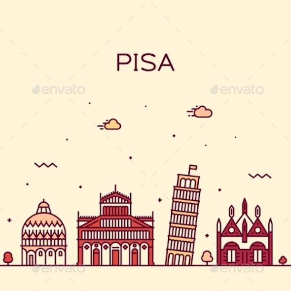 Pisa Skyline Italy Vector Linear Style City