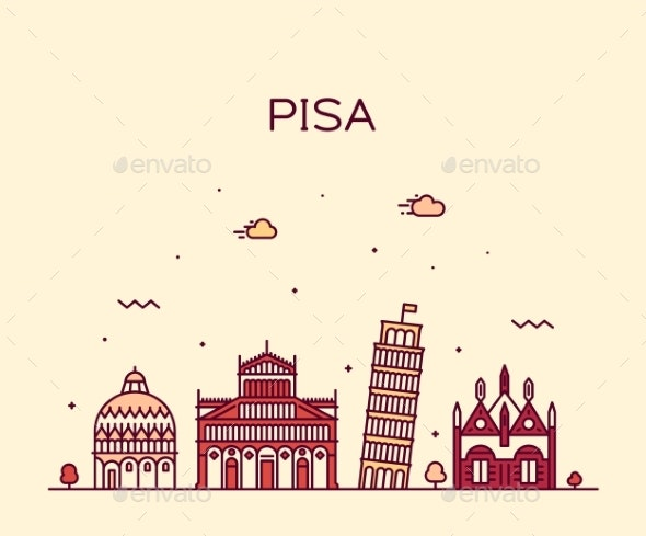 Pisa Skyline Italy Vector Linear Style City - Buildings Objects