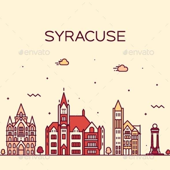 Syracuse Skyline New York USA Vector Linear Style