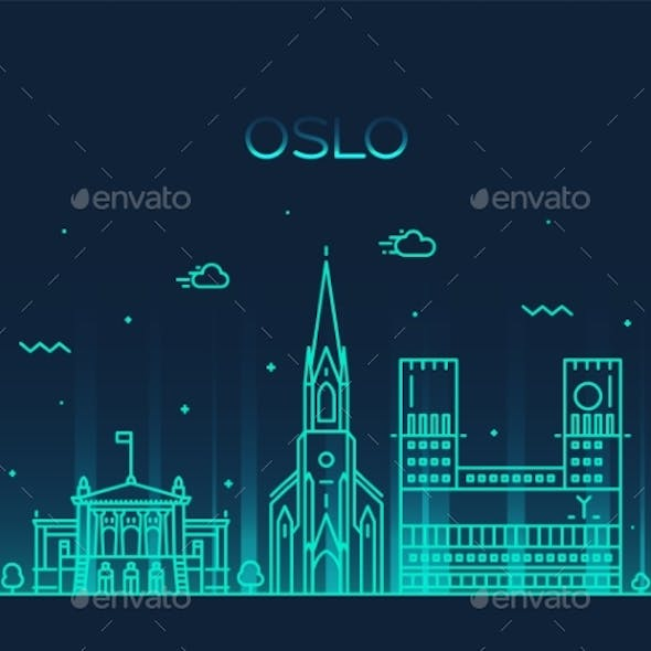 Oslo City Skyline Norway Vector Linear Style City