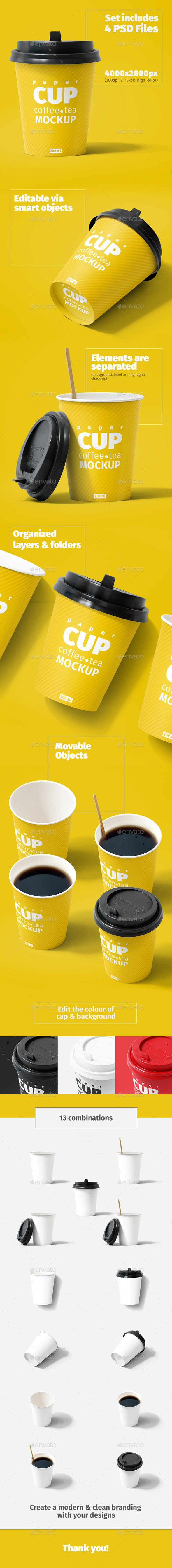 Paper Cup 200ml Mockup - Food and Drink Packaging