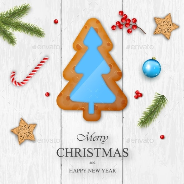 Christmas Vector on White Wooden Background - Christmas Seasons/Holidays