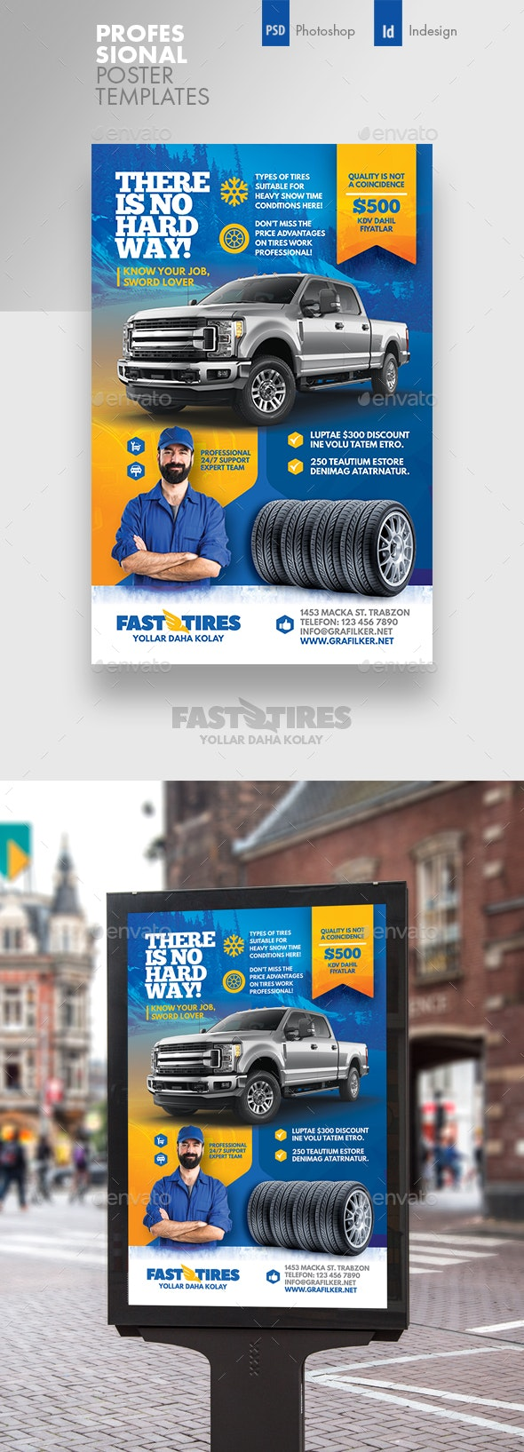 Auto Tires Poster Templates - Signage Print Templates