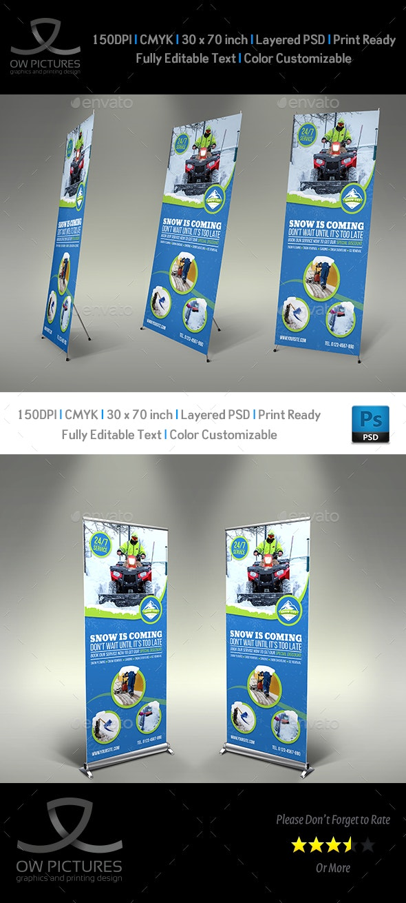 Snow Removal Service Signage Banner Roll-Up Template - Signage Print Templates