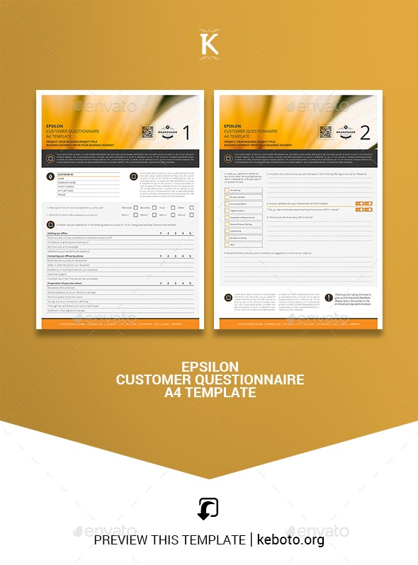 Epsilon Customer Questionnaire A4 Template - Miscellaneous Print Templates