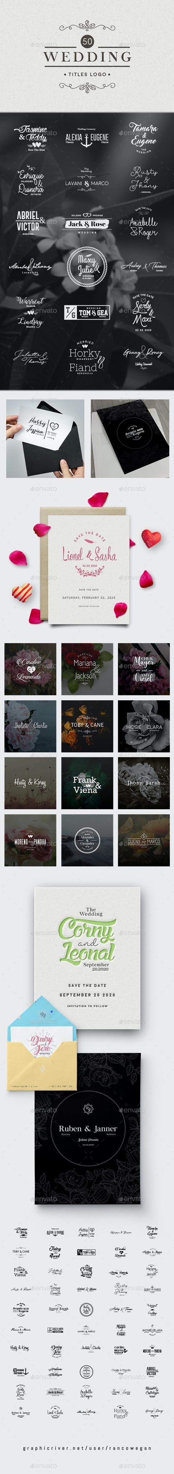 50 Wedding Titles Logo Vol. 2 - Badges & Stickers Web Elements