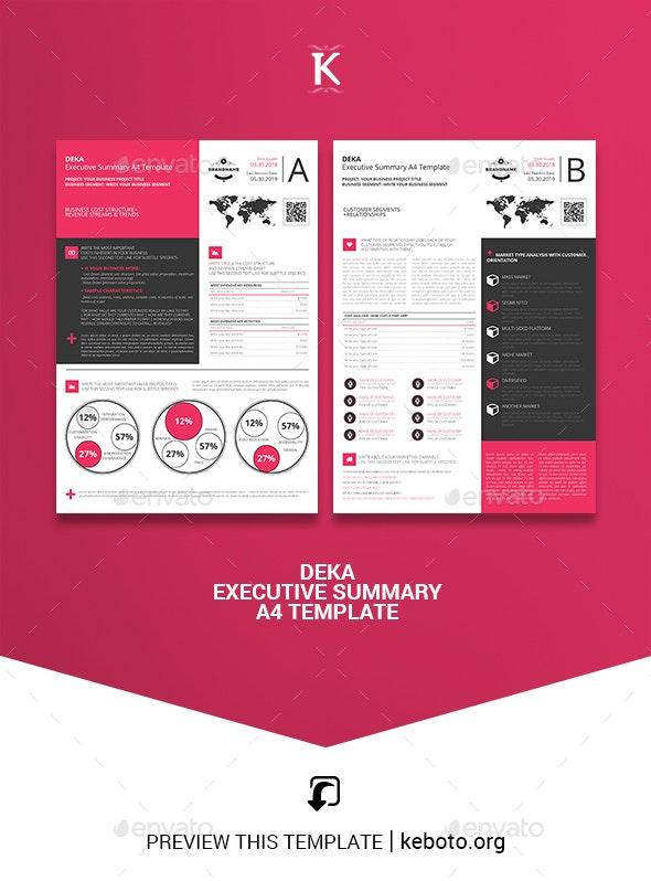 Deka Executive Summary A4 Template - Miscellaneous Print Templates