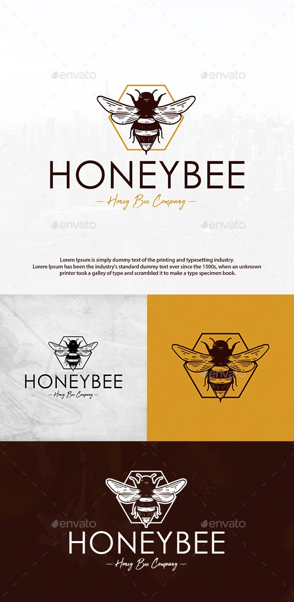 Honey Bee Vintage Logo - Animals Logo Templates