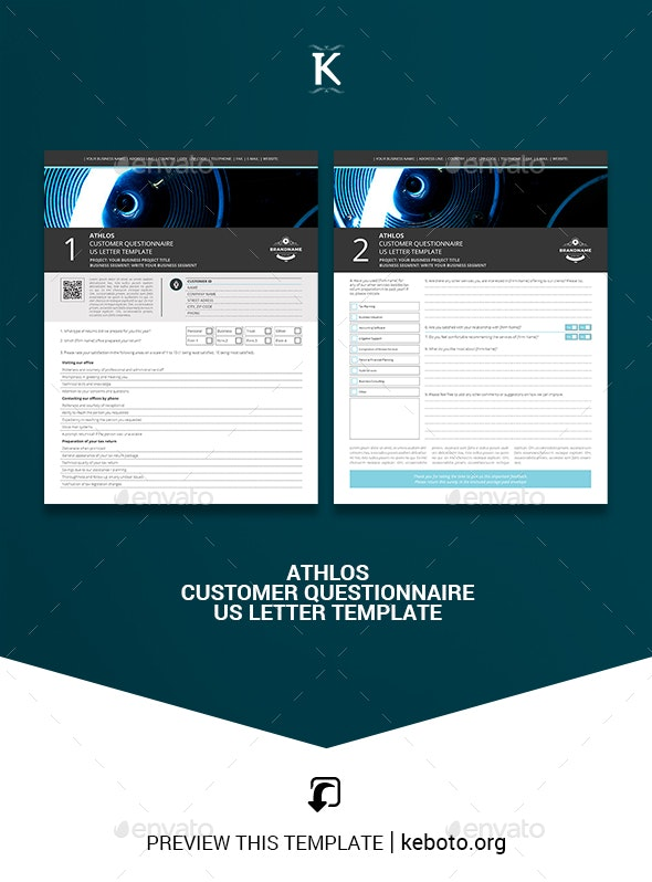 Athlos Customer Questionnaire US Letter Template - Miscellaneous Print Templates