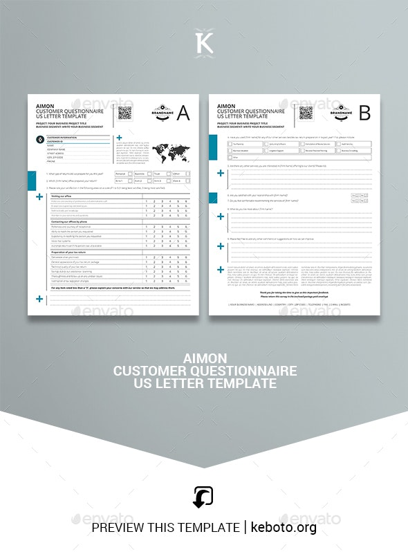 Aimon Customer Questionnaire US Letter Template - Miscellaneous Print Templates