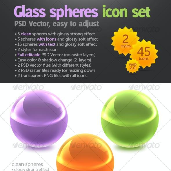 Glass spheres icon set