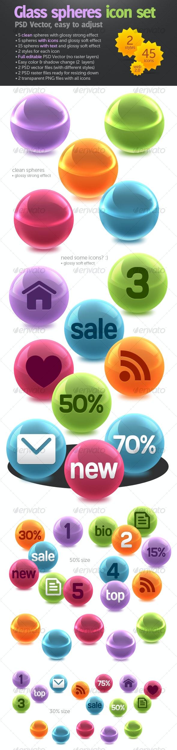 Glass spheres icon set - Web Icons