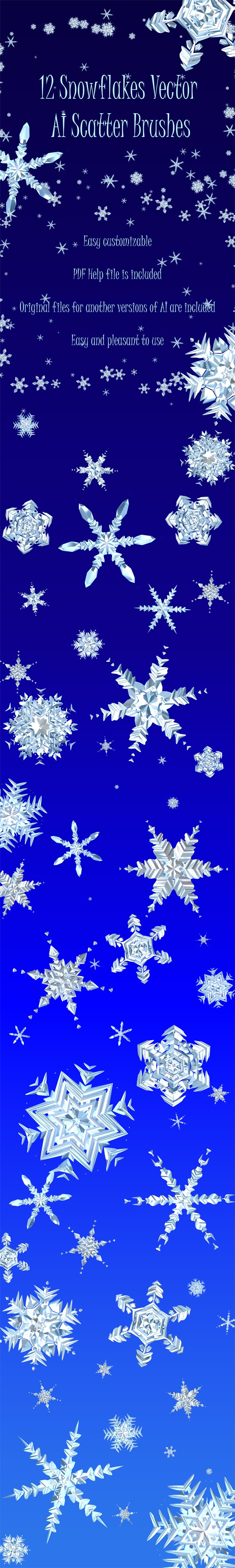 12 New Year Snowflake Brushes - Vector Adobe Illustrator Scatter Christmas Brushes - Miscellaneous Brushes