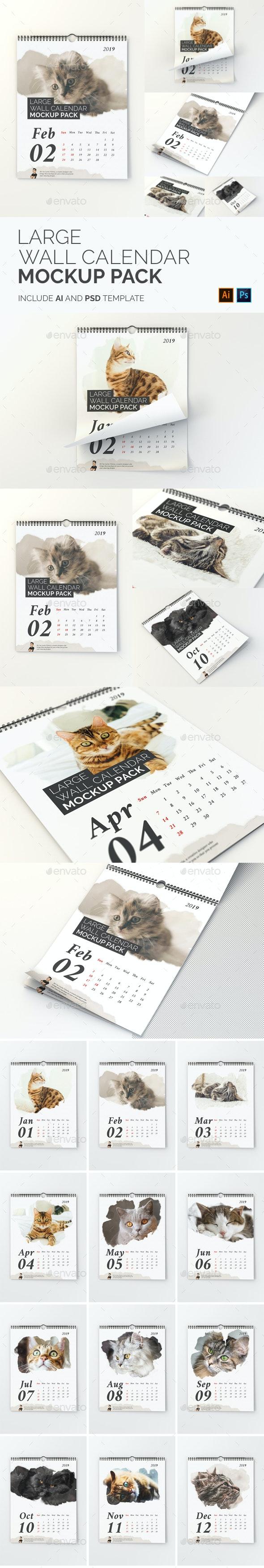 Large Wall Calendar Mockup Pack - Print Product Mock-Ups