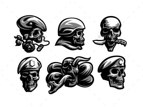 Set of Skull Emblems - Decorative Symbols Decorative