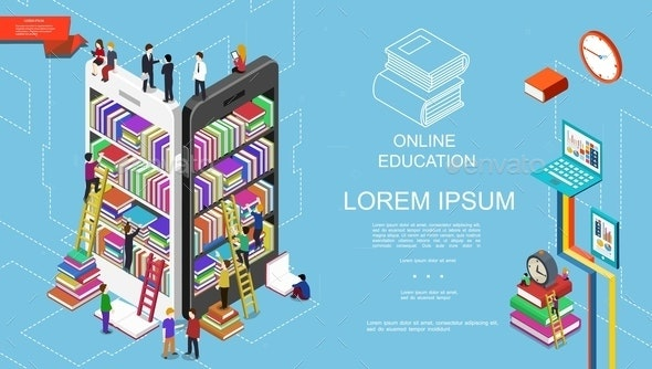 Isometric Online Education and Learning Concept - People Characters