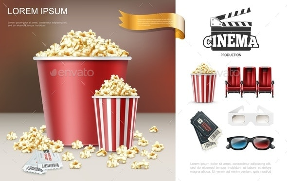Realistic Cinema and Movie Composition - Food Objects