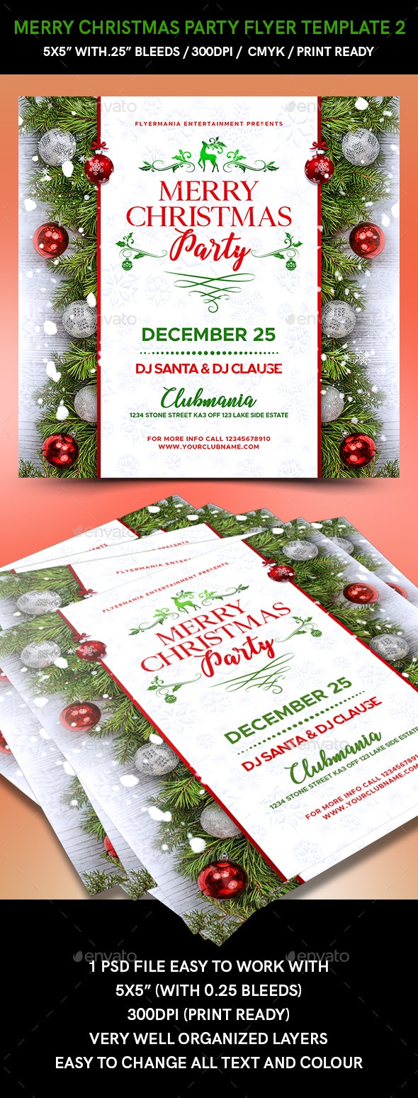 Merry Christmas Party Flyer Template 2 - Events Flyers