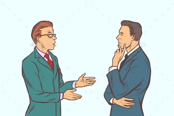 Two Businessmen Brainstorming Collaboration - Concepts Business