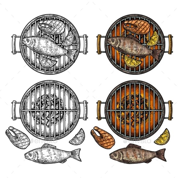 Barbecue Grill Top View with Fish and Steak
