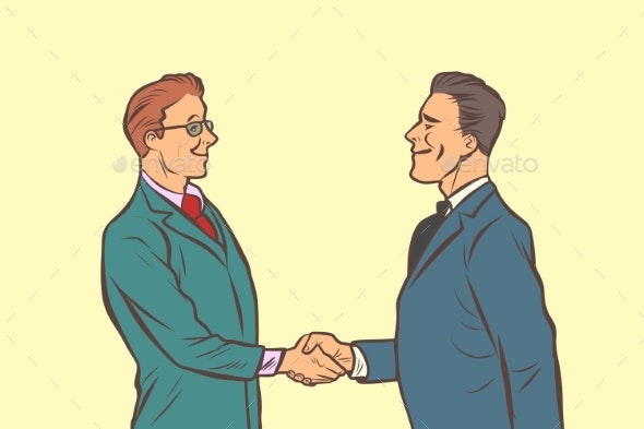Two Businessmen Shaking Hands - Concepts Business