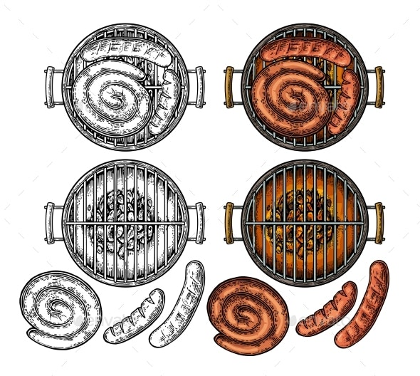 Barbecue Grill Top View with Charcoal and Sausage - Food Objects
