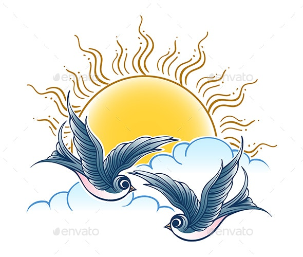 Two Swallows Flies in the Sky - Tattoos Vectors