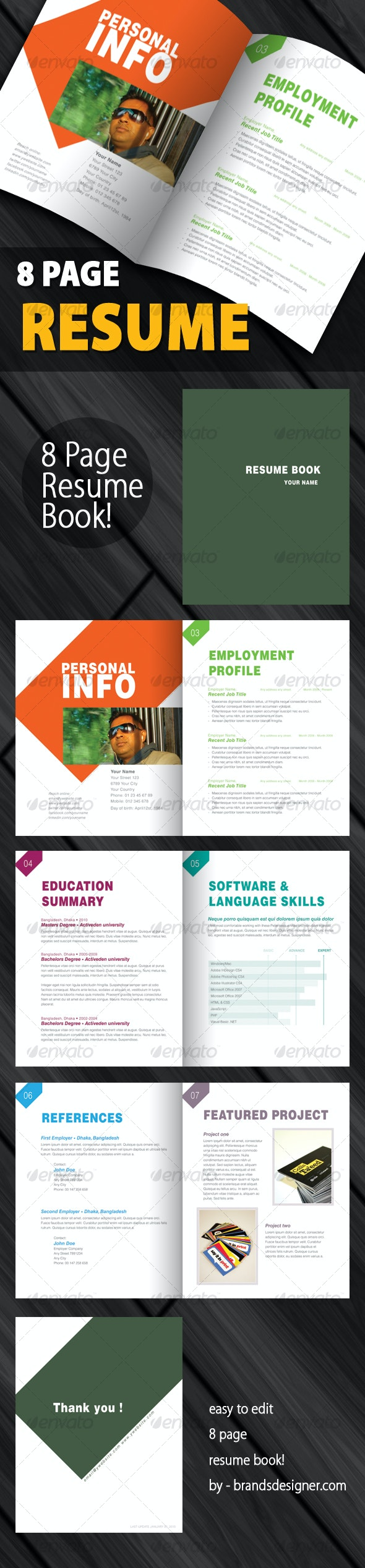 Clean and Creative Resume Book  - Miscellaneous Print Templates