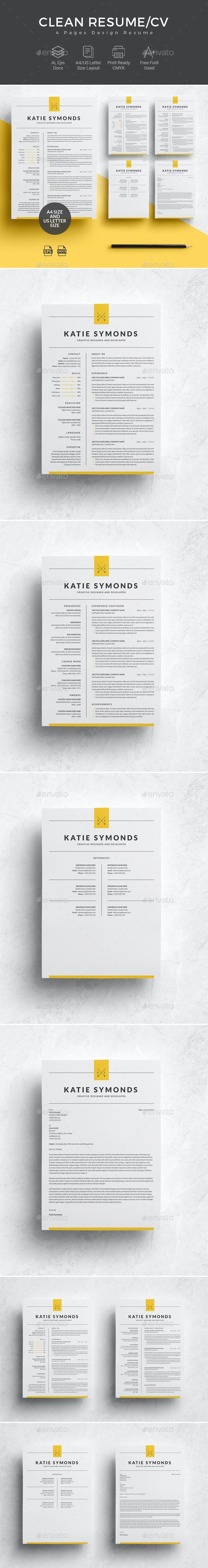Professional Resume Template | 4 Pages - Resumes Stationery