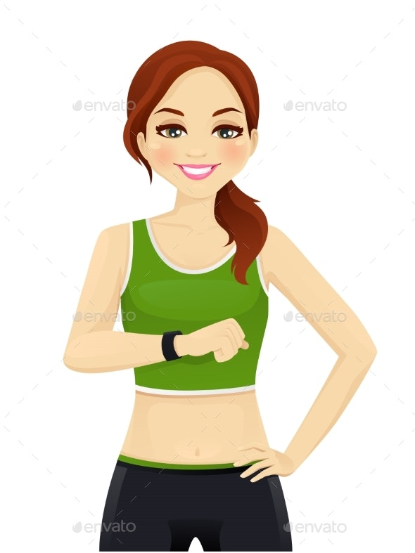 Sport Woman with Smart Watch - Sports/Activity Conceptual
