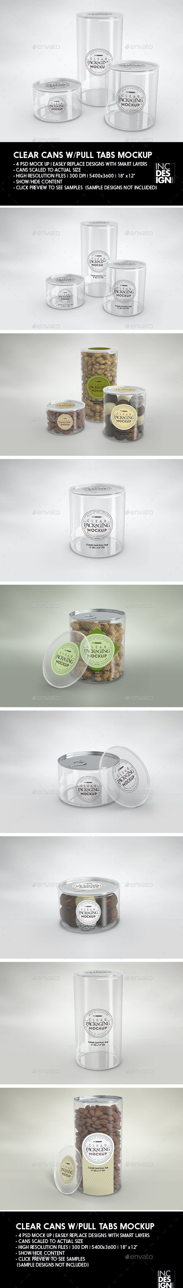 Clear Cans with Pull tabs and Clear Lids Packaging Mockup - Food and Drink Packaging