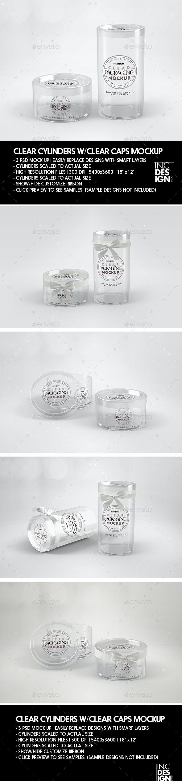 Clear Cylinders with Clear Caps Packaging Mockup - Packaging Product Mock-Ups