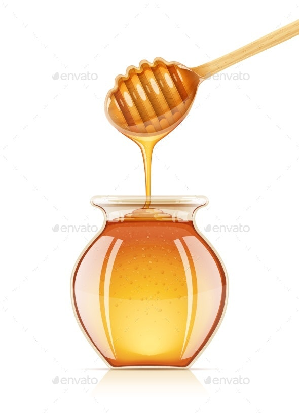 Jar and Dipper for Honey - Food Objects