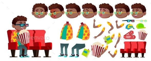 Boy Schoolboy Kid Vector. Black. Afro American - People Characters