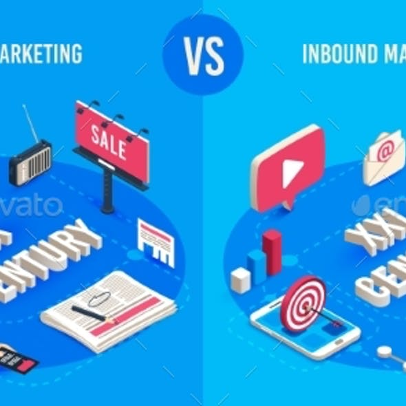 Outbound and Inbound Marketing Isometric Market