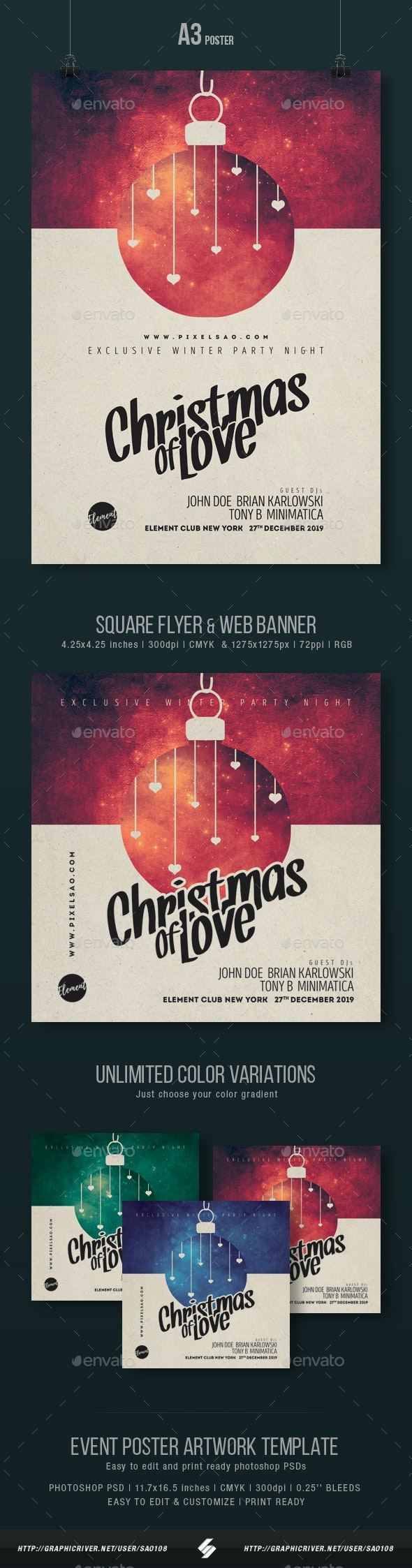 Christmas of Love - Party Flyer / Poster Artwork Template A3 - Events Flyers
