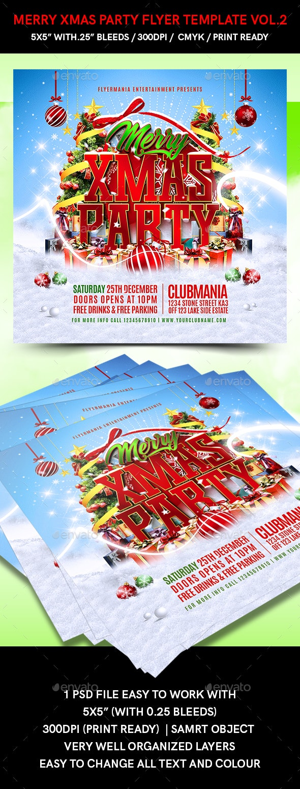 Merry Xmas Party Flyer Template Vol.2 - Holidays Events