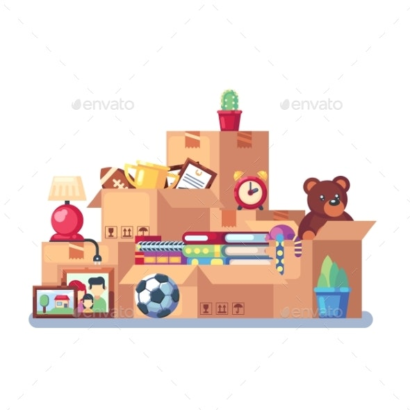 Moving with Boxes to New Home - Man-made Objects Objects