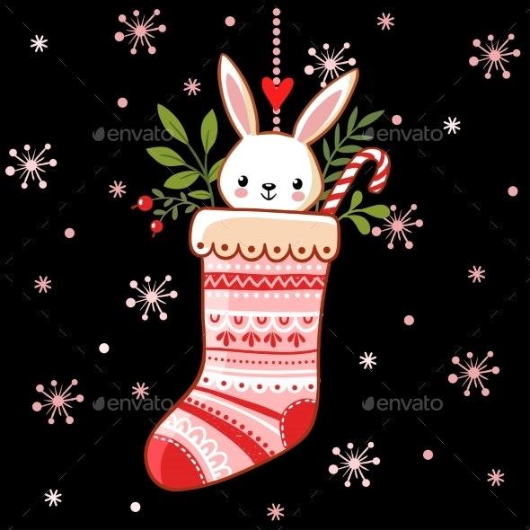 Bunny in a Christmas Sock - Christmas Seasons/Holidays