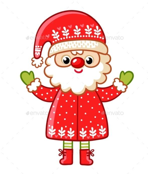 Santa Claus on a White Background - Christmas Seasons/Holidays