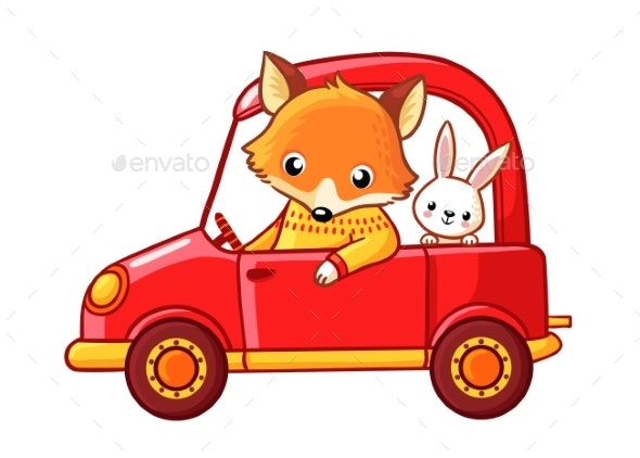 Cartoon Fox and a Hare Ride on a Red Car - Animals Characters