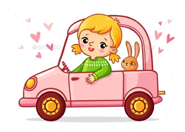 Girl with a Rabbit is Riding in a Pink Car - Animals Characters