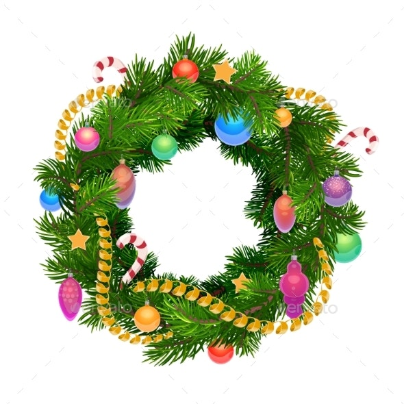 Christmas Holiday Wreath with Balls and Decoration - Christmas Seasons/Holidays