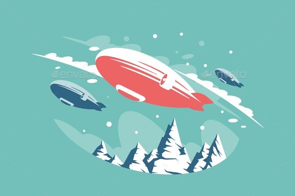 Airships Above Snowy Mountains - Miscellaneous Vectors