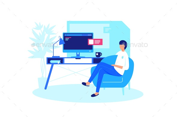 Man Relaxes at Home Computer - People Characters