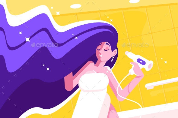 Girl with Long Hair Blow Drying - Miscellaneous Vectors