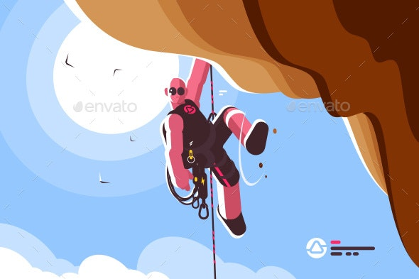 Mountain Climber with Special Equipment - Sports/Activity Conceptual