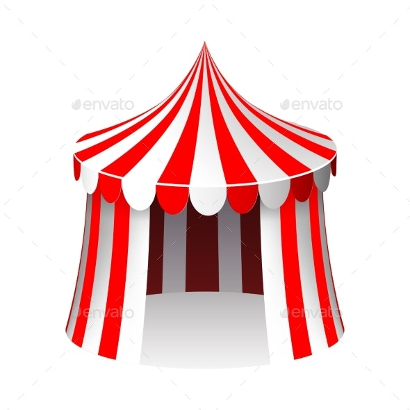 Circus Tent Isolated Realistic Cartoon Design - Man-made Objects Objects