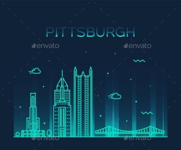 Pittsburgh a Skyline Vector Pennsylvania USA Line - Buildings Objects